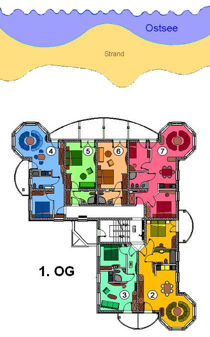 Anordnung der Suite im 1. OG