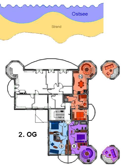 Anordnung der Suite im 2. OG