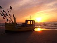 Villa del Mar - Sonnenuntergang bei den Fischerbooten in der Nähe des Strandhotels