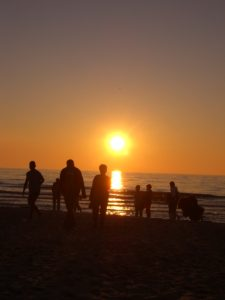 Ostsee Polen Sonnenuntergang am Strand